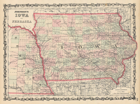 1862 Johnson's Iowa and Nebraska