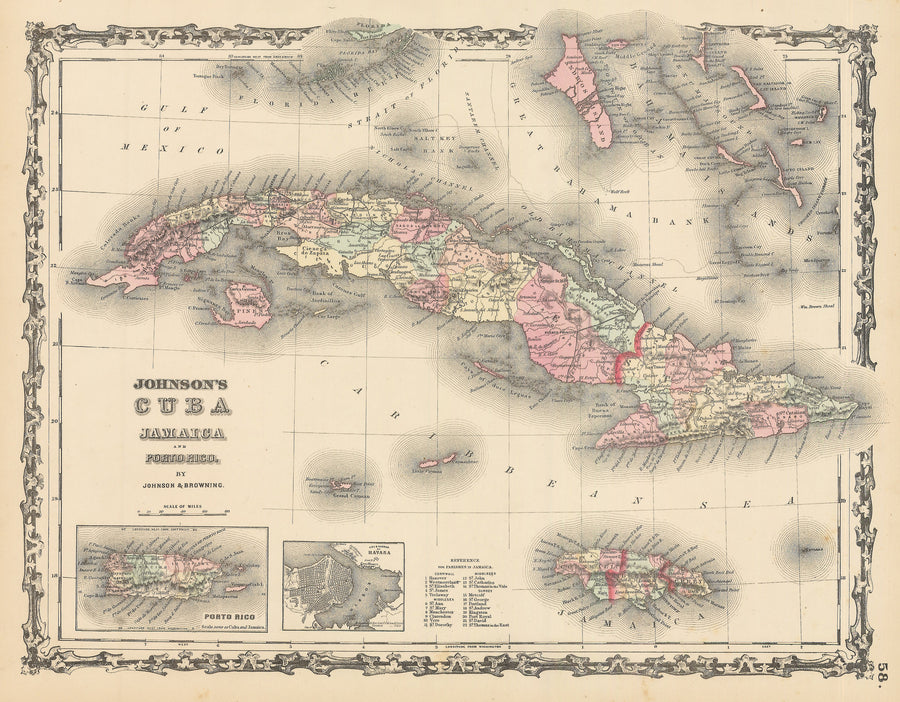 Authentic Antique Map of Cuba, Jamaica and Puerto Rico: Johnson's Cuba Jamaica and Porto Rico By Alvin J. Johnson Date 1862