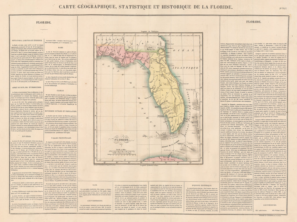 Authentic Antique Map of Florida showing portions of the Bahamas and Cuba: Carte Geographique, Statistique et Historique de la Florida By: Jean Alexandre Buchon Date: 1825 (published) Paris