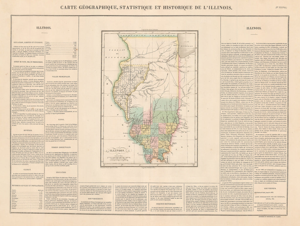 Authentic Antique Map of Illinois: Carte Geographique, Statistique et Historique de L'Illinois By: Jean Alexandre Bouchon Date: 1825 (published) Paris