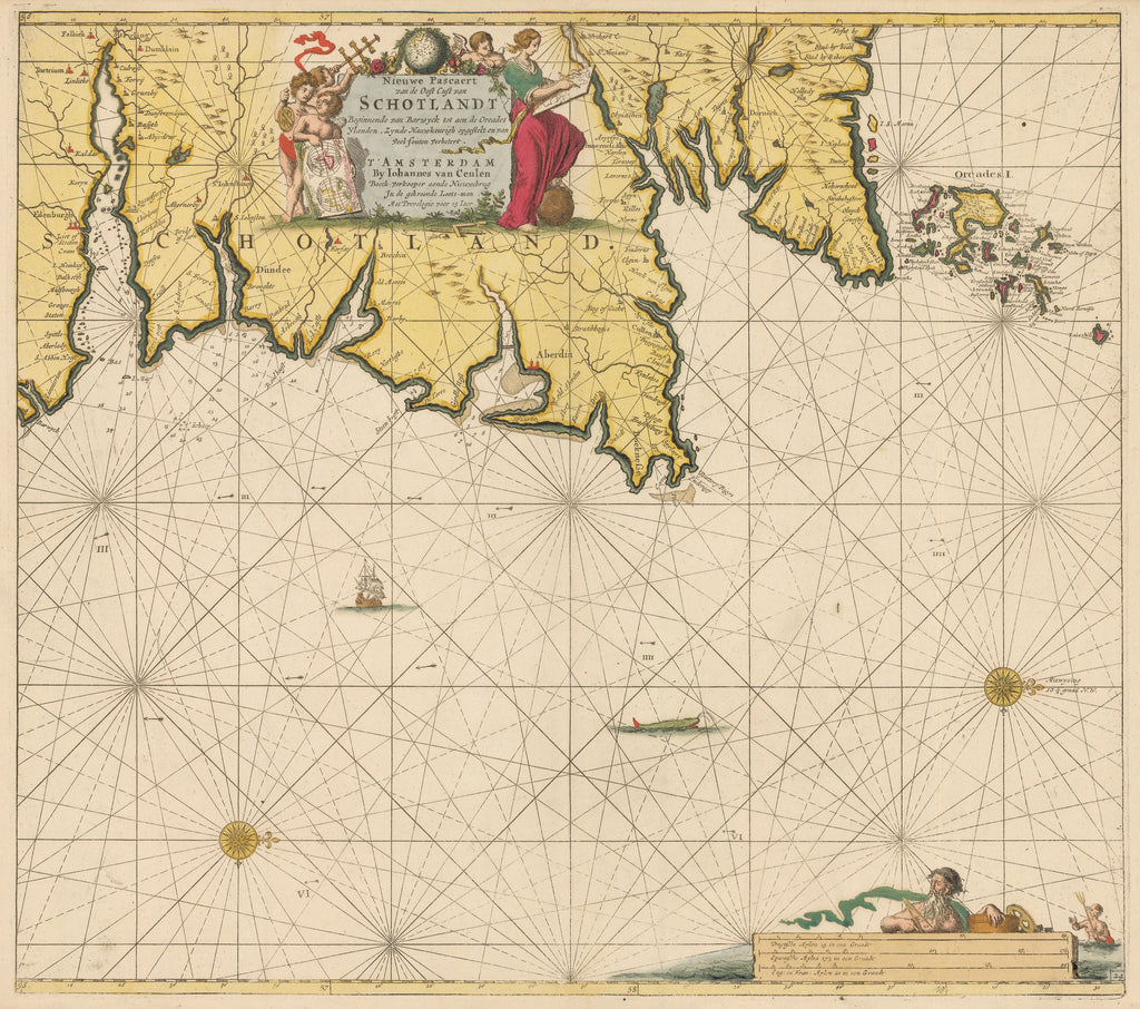 Authentic Antique Map of the coast of Scotland: Nieuwe Pascaert van de Ooft Cust Van Schotlandt Beginnende van Barwyck tot aen deOrcades Ylanden By: Johannes Van Keulen Date: 1680 (circa) Amsterdam