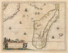 Authentic Antique Map of Madagascar: Insula S. Lavrentii, vulgo Madagascar By: Willem Blaeu Date: 1660 (circa) Amsterdam