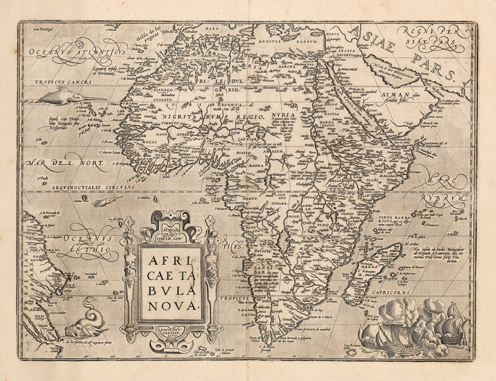 Authentic Antique Map: Africae Nova Tabula; By: Abraham Ortelius; Date: 1588
