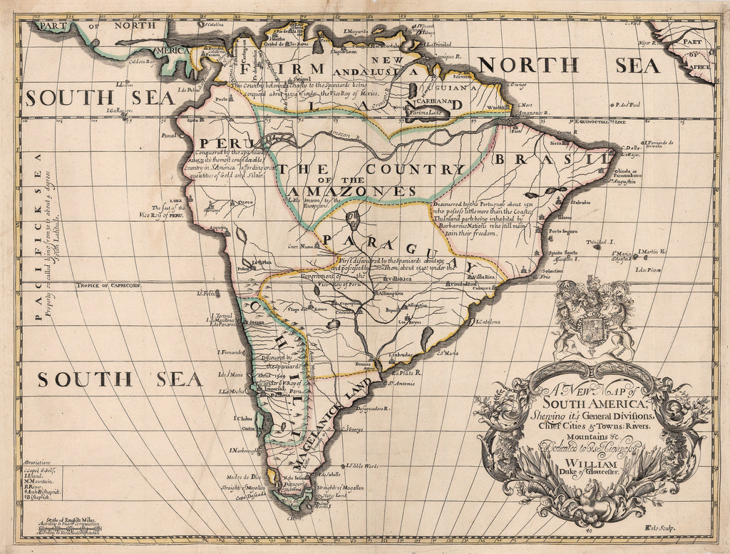 1700 A New Map of South America, Shewing it\'s General Divisions ...