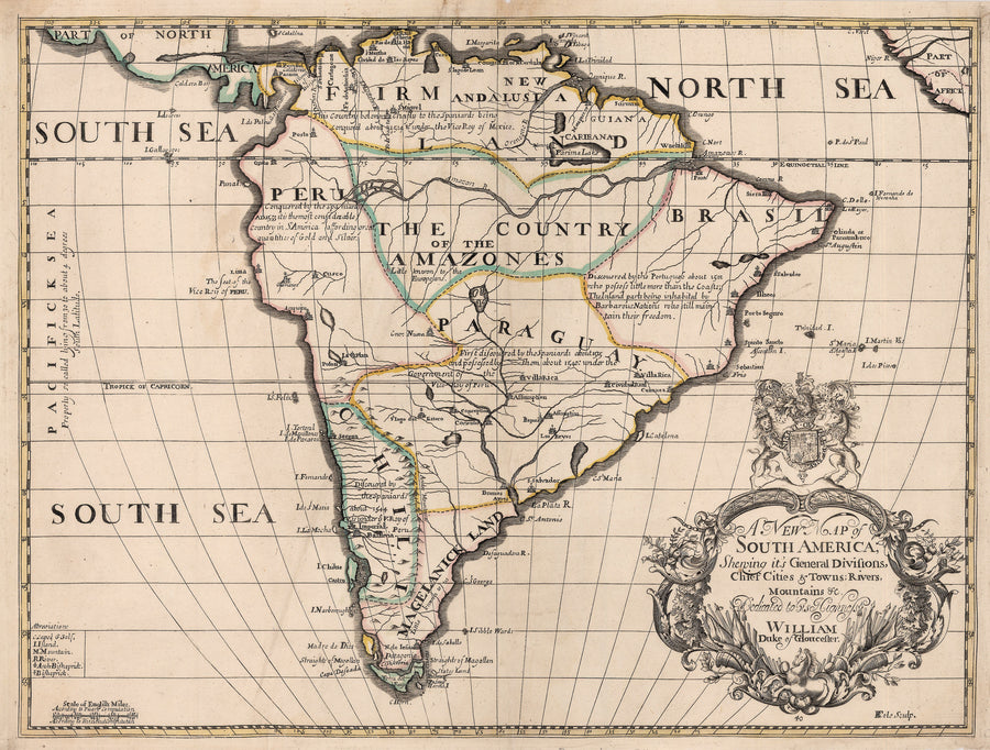 1700 A New Map of South America, Shewing it's General Divisions, Chief Cities & Towns; Rivers, Mountains &c.