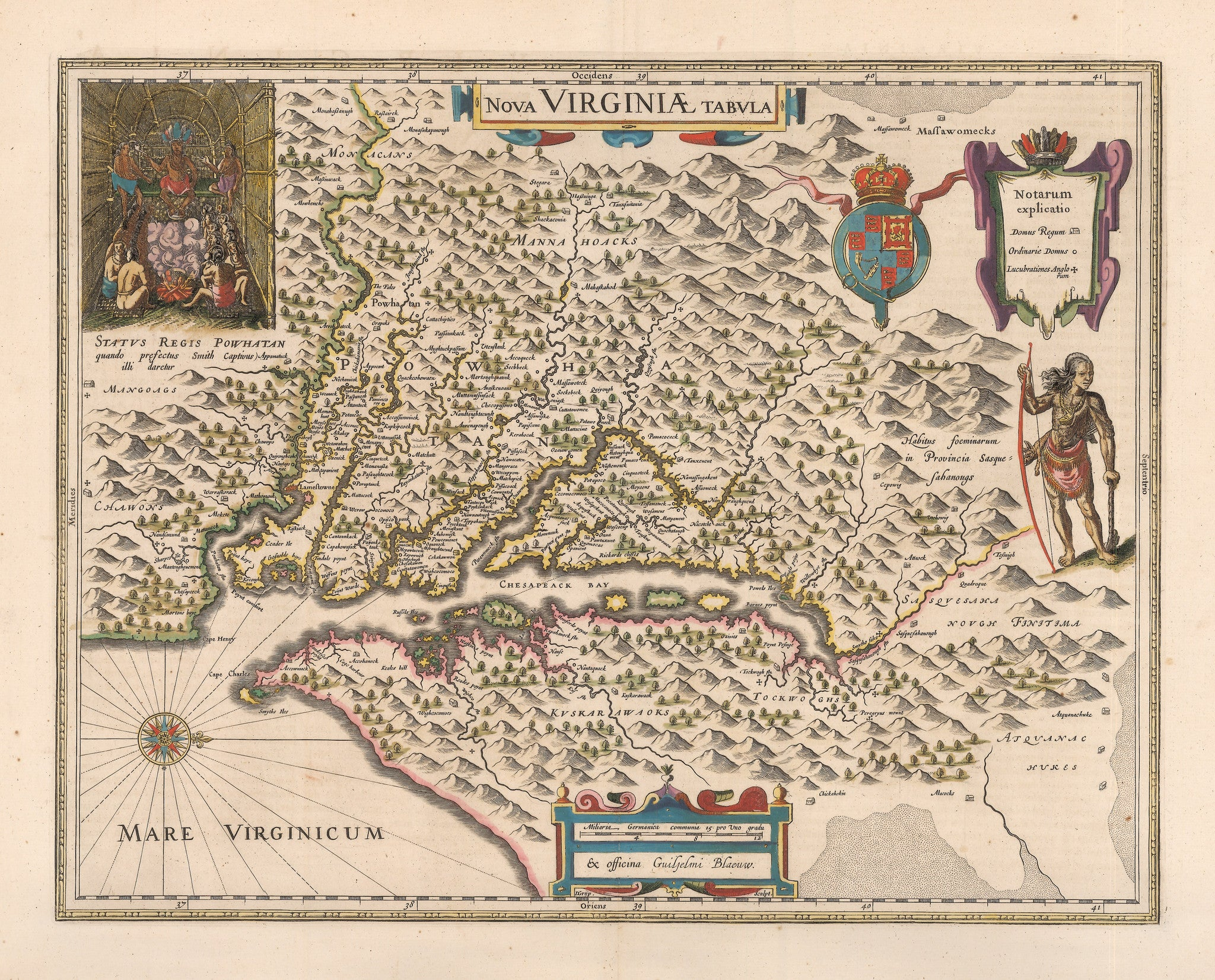 Authentic Antique Map of Virginia and Chesapeake Bay: Nova Virginiae Tabula By: Willem Janszoon Blaeu Date: 1640 (circa) Amsterdam