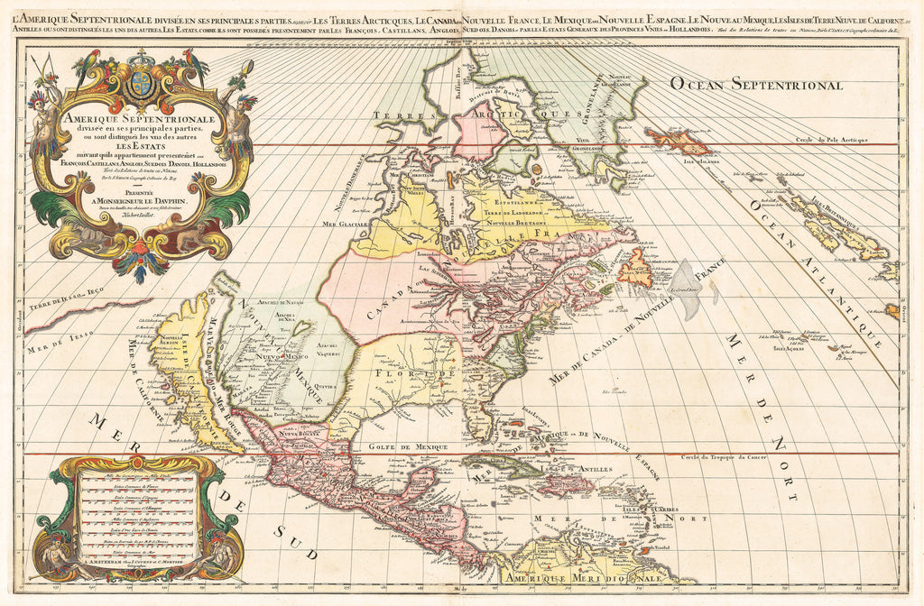Authentic Antique Map of North America: L'Amerique Septentrionale Divisee En Ses Principales Partiesou sont distingués... les Estats... Francois, Castillians, Anglois, Suedois, Danois, Hollandois. By: Sanson / Jalliot / Mortier Date: 1710 (circa) Paris