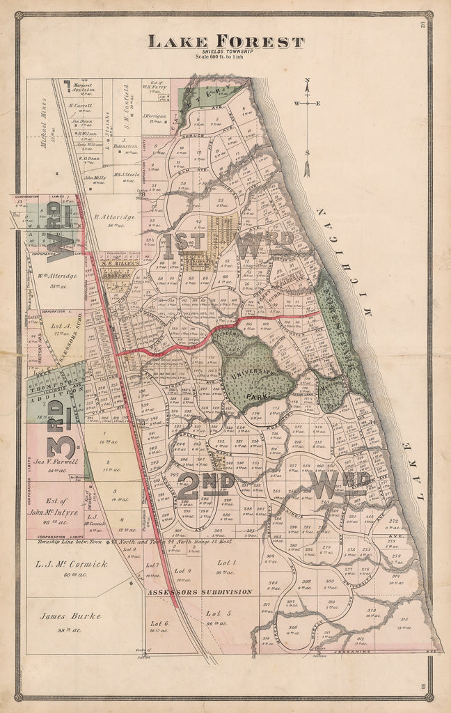 Authentic Antique Map of Lake Forest, Illinois: Lake Forest By: H.R. Page & Co. Date: 1881 (copyright) Chicago
