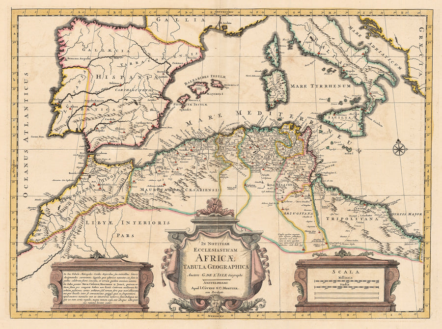 Antique Map: In Notitiam Ecclesiasticam Africae Tabula Geographica; By: Covens & Mortier; Date: 1745