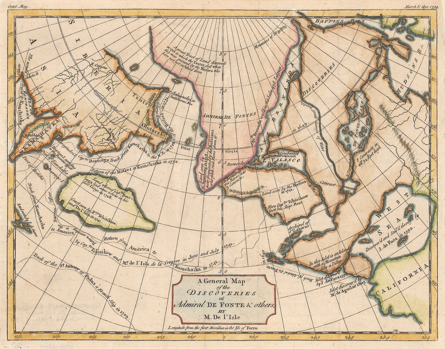 1754 A General Map of the Discoveries of Admiral De Fonte & others, By M. De l'Isle