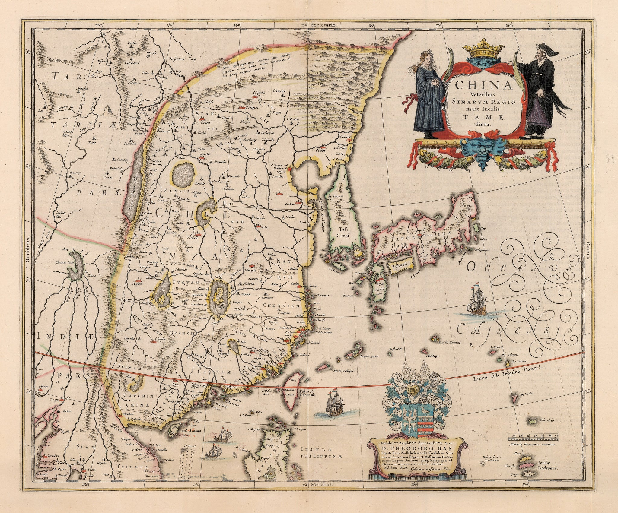 Authentic Antique Map: China Veteribus Sinarum Regio nunc Incolis Tame dieta.  By: Willem Johannes Blaeu  Date: 1640 (circa) Amsterdam