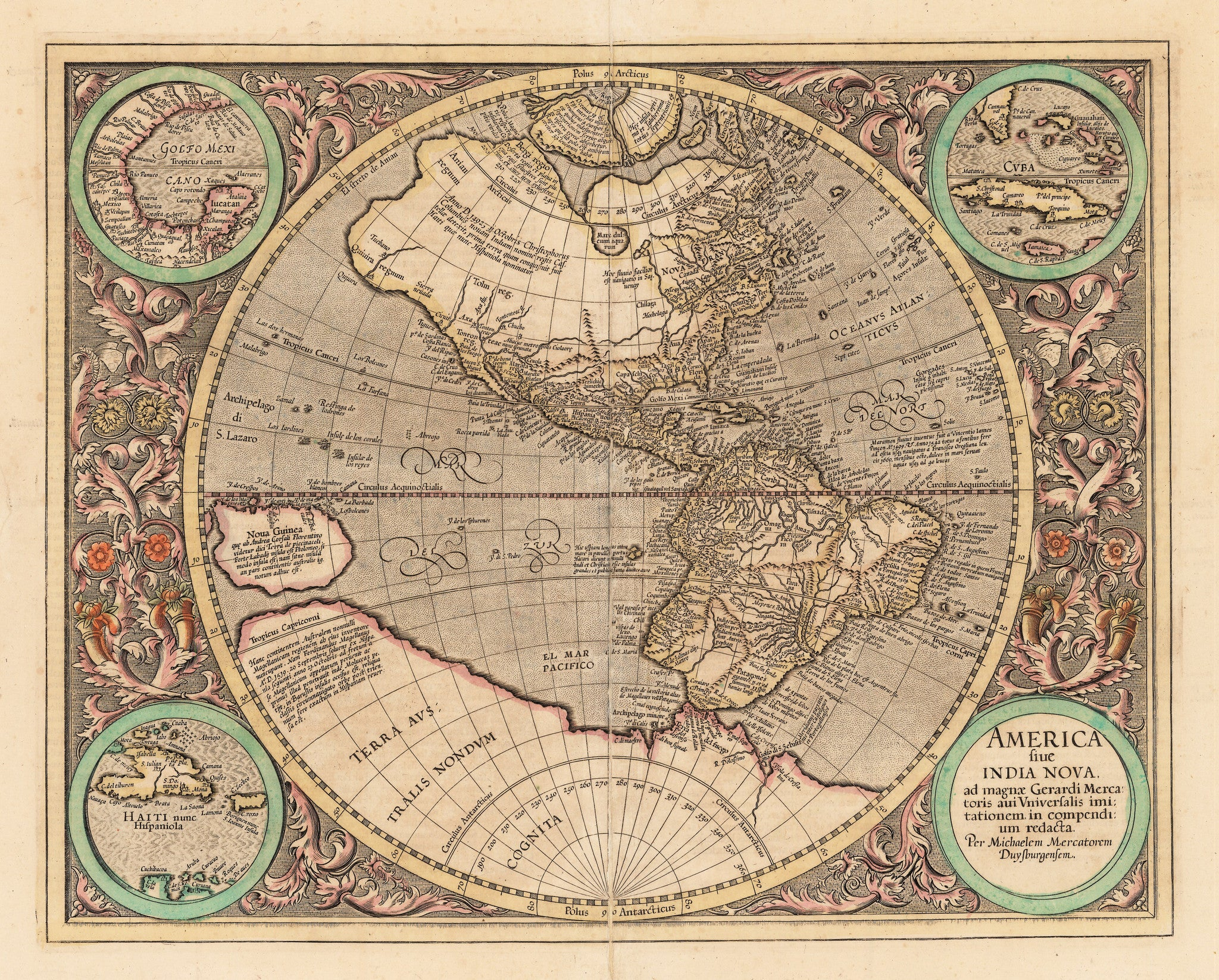 Authentic Antique Map of Western Hemisphere: America sive India Nova ad magnae Gerardi Mercatoris avi universalis imitationem incompendium redacta  By: Michael Mercator  Date: 1613 / Duisberg