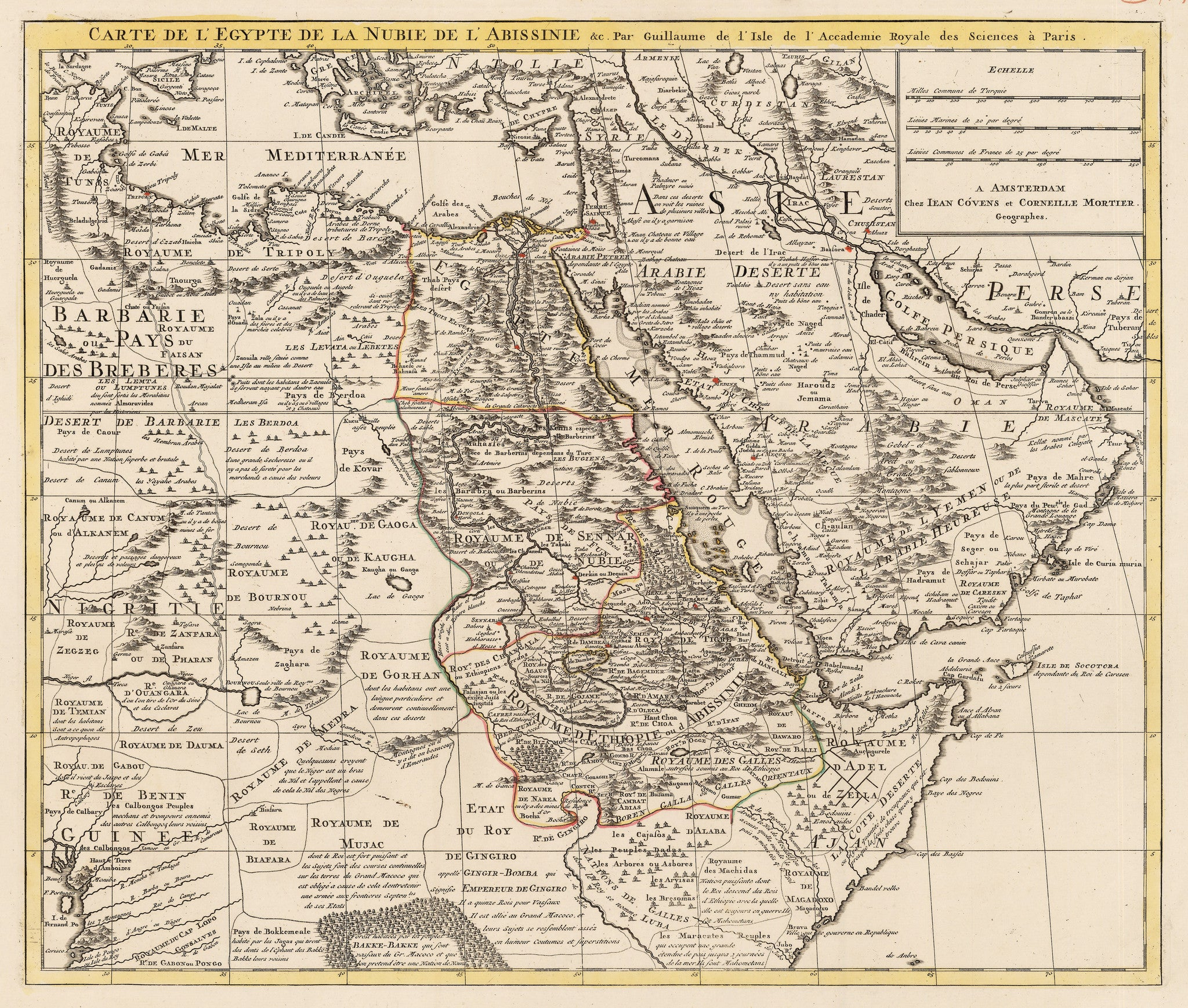 Authentic Antique Map of Nubia, Egypt, Abyssinia, and Arabia: Carte de l'Egypte, de la Nubie, de l'Abissinie &c. Par Guillaume de l'Isle de l'Academie Royale des Sciences a Paris. By: Covens & Mortier Date: 1730 (circa) Paris