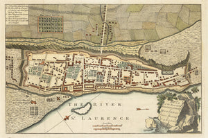 Authentic Antique Map of Montreal: Plan of the Town and Fortification of Montreal or Ville Marie in Canada. By: Universal Magazine Date: 1759 (published) London