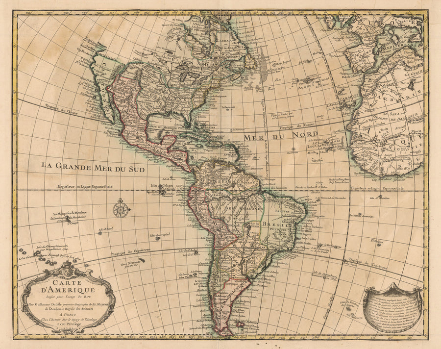 Authentic Antique Map of the Western Hemisphere: Carte d'Amerique Dressee pour l'Usage du Roy. Par Guillaume Delisle Premier Geographe de sa Majeste DE L'Academie Royale des Sciences By: Guillaume Delisle  Date: 1722 (dated) Paris