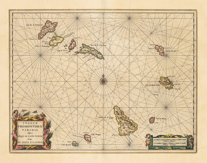 Authentic Antique Map of the Cape Verde Islands: Insulae Promontorii Viridis Hispanis Issas de Cabo Verde, Belgis de Soute Eylanden By: Johannes Jansson  Date: 1650 (circa) Amsterdam
