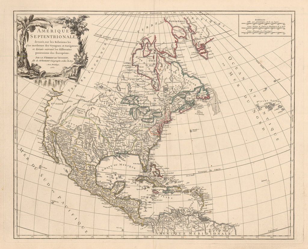 Authentic Antique Map of North America: Amerique Septentrionale dressee, sur les Relations les plus modernes des Voyageurs et Navigateurs, et divisee suivant les differentes possessions des Europeens By: Robert de Vaugondy  Date: 1750 (dated) 1757 (published) Paris