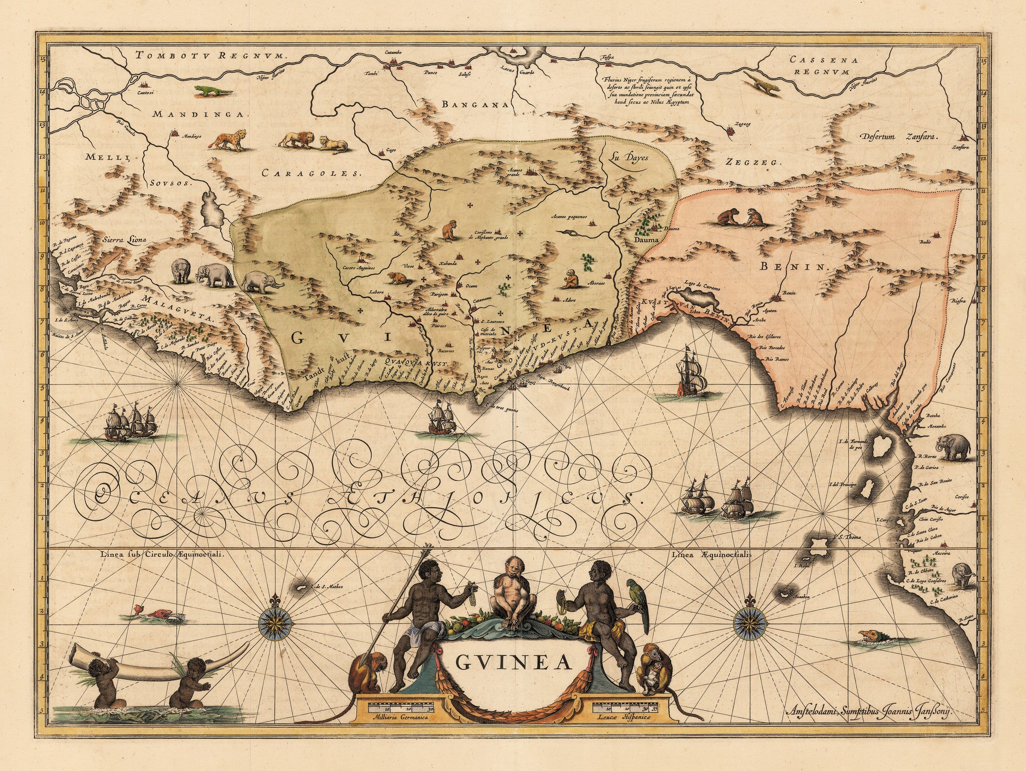 Authentic Antique Map of Guinea or West Africa: Guinea  By: Jan Jansson  Date 1640 (published) Amsterdam
