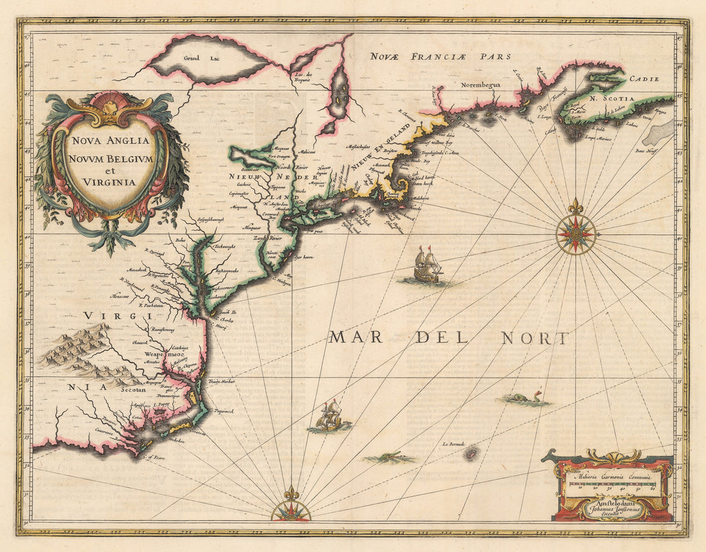Authentic Antique Map of Colonial America: Nova Anglia Novum Belgium et Virginia; By: Jan Jansson; Date: 1636 (published) Amsterdam.