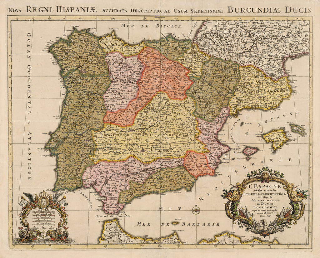 Authentic Antique Map of Spain, Portugal, and the Balearic Islands: L'Espagne Divisee en tous ses Royaumes, Principautes, &c. a l'Usage de Monseigneur le Duc de Bourgogne… By: Alexis-Hubert Jaillot  Date: 1696 (dated) Paris