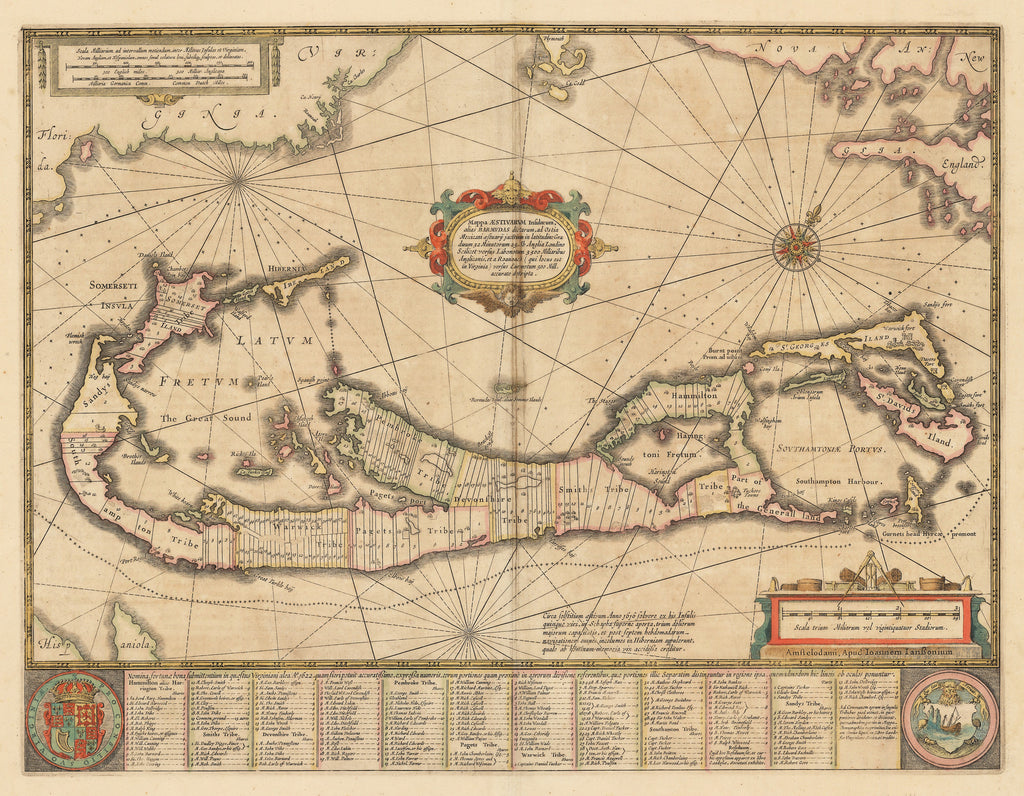 Authentic Antique Map of Bermuda: Mappa Aestivarum Insularum, alias Barmudas… By: Joannes Jansson  Date: 1654 (published) Amsterdam