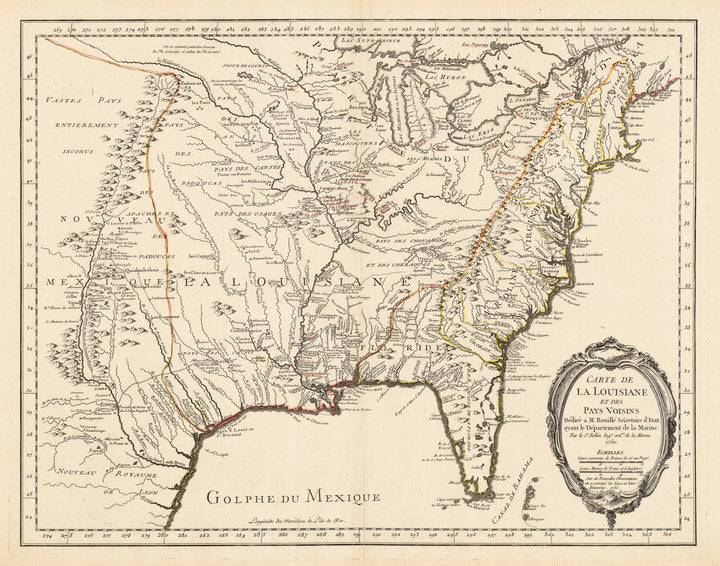 Authentic Antique Map of North America: Carte de La Louisiane et Des Pays Voisins Dediee a M. Rouille Secretairr 'd Etat ayant le Departement de la Marine… 1750… Sur de Nouvelle Observations on a corrigee les Lacs, et leurs Enviorns 1755  By: Jacques Nicolas Bellin  Date: 1755 (dated) Paris