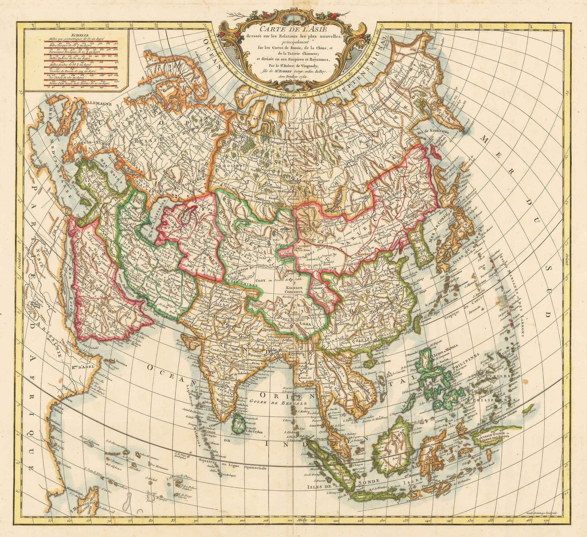 Authentic Antique Map of Asia: Carte de l'Asie dressee sur les Relations les plus nouvelles, principalement fur les Cartes de Russie, de la Chine, et de la Tatarie Chinoise; et divisee en ses Empires et Royaumes. By: Robert de Vaugondy Date: 1750 (published) Paris