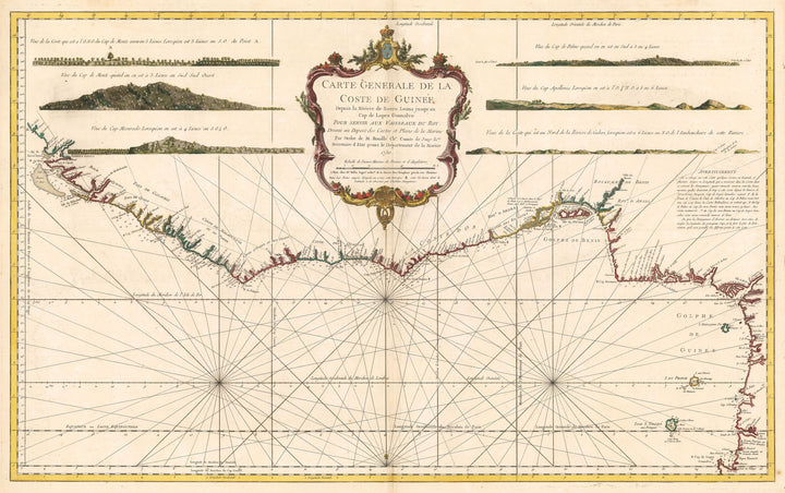 Authentic Antique Map of the West African Coast: Carte Generale de la Coste de Guinee Depuis la Riviere de Sierra Leona jusqu'au Cap de Lopes Gonsalvo…By:Jacques Nicolas Bellin Date: 1750 (published) Paris