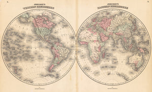1862 Johnson's Eastern & Western Hemisphere