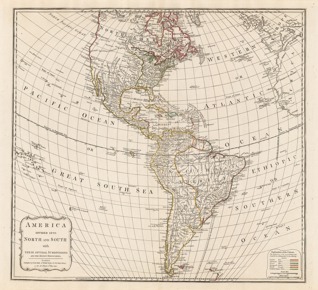 Mexico Map 1794.1794 America Divided Into North And South With Their Several
