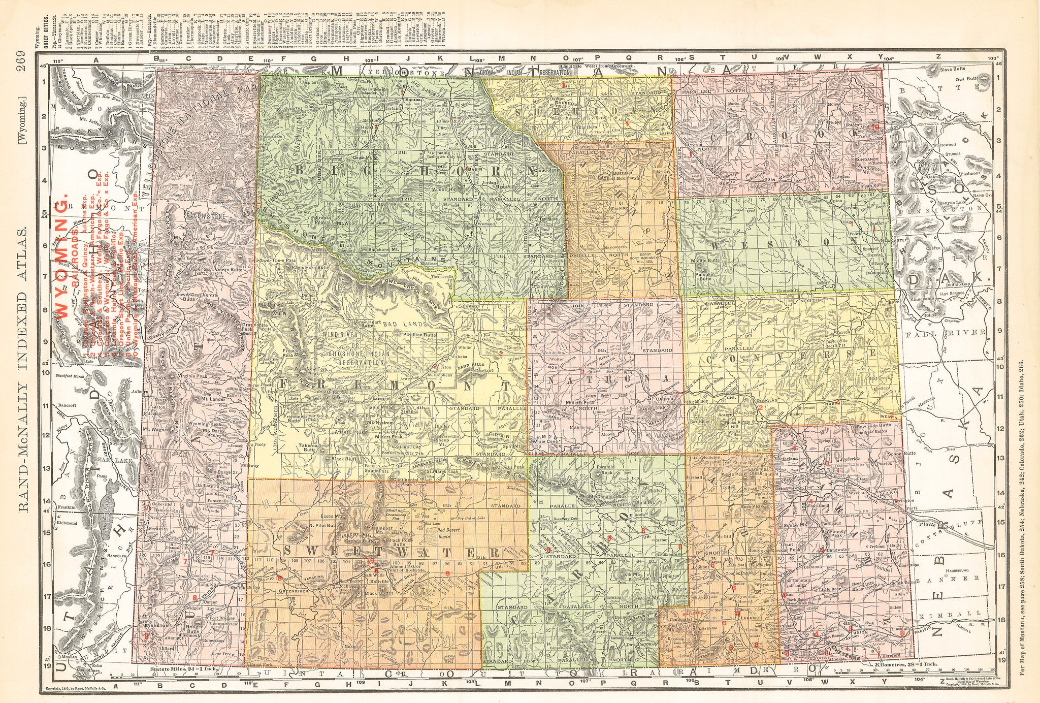 Authentic Antique Map of Wyoming By: Rand McNally  Date: 1895 (copyright) Chicago