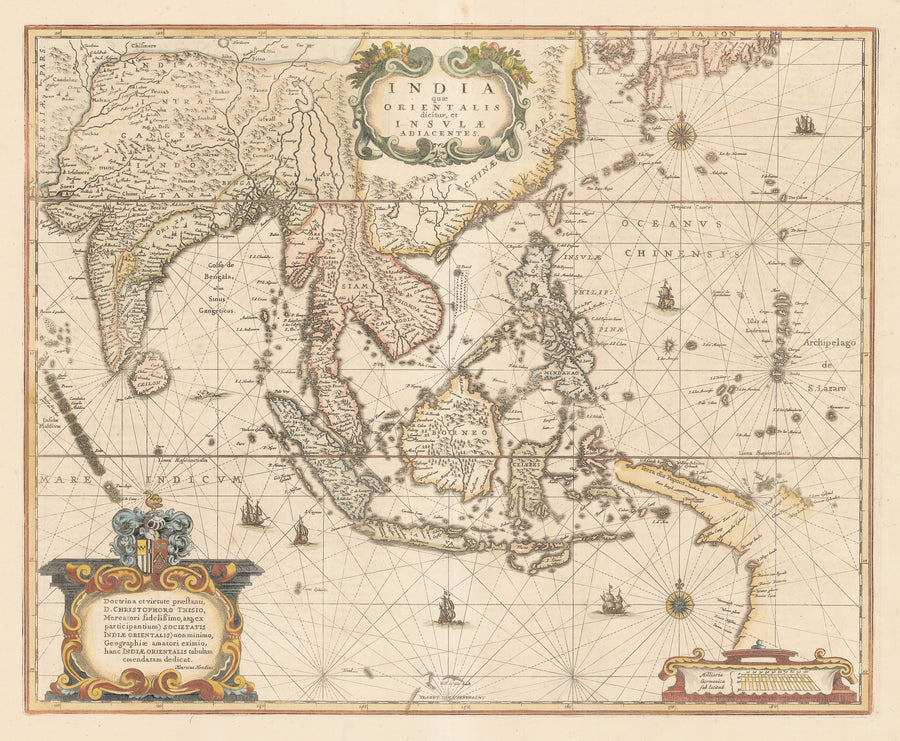 Authentic Antique Map Southeast Asia: India quae Orientalis dicitur, et Insulae Adiacentes. By: Henricus Hondius   Date: 1639 (published) Amsterdam