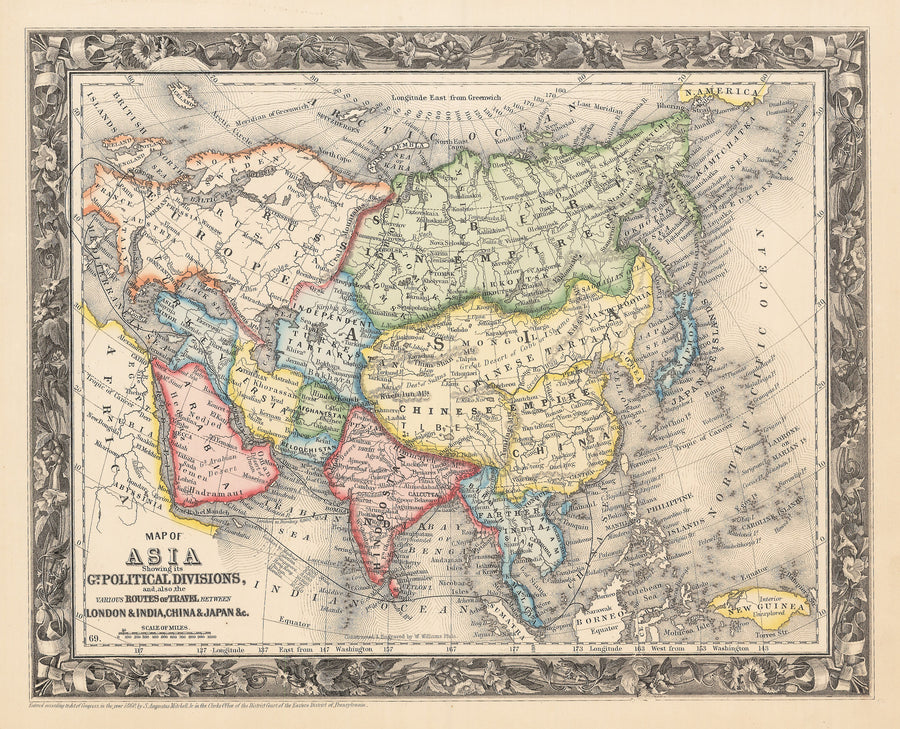 1861 Map of Asia Showing its Gt. Political Divisions and...Routes of Trade between London & India, China, Japan &c.