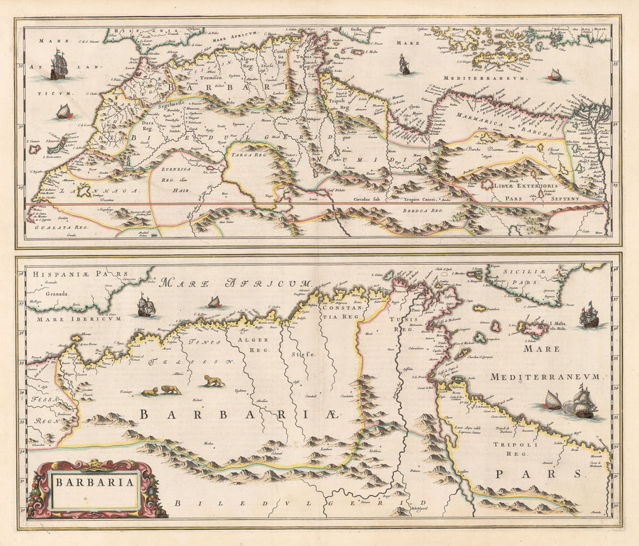 Authentic Antique Map of Northern Africa: Barbaria By:  By: Joan Blaeu  Date: 1660 (circa) Amsterdam