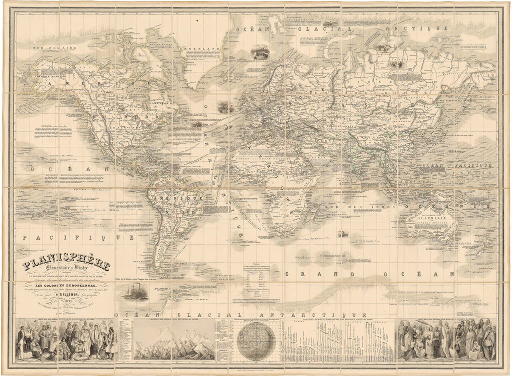1853 Planishphere Elementaire et Illustre Indiquant La Description Geographique des Parties Connues de la Terre…