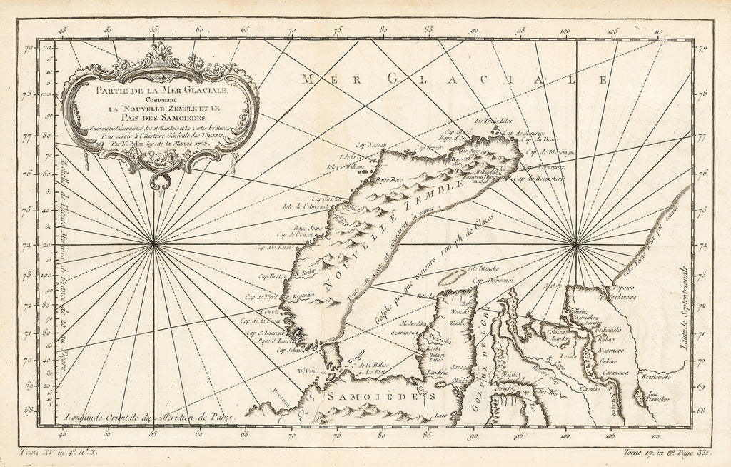 Authentic Antique Map of Nova Zembla: Parte de la Mer Glaciale Contenant La Nouvelle Zamble et Le Pais des Samoides … Date: 1758 (Published) Paris, Dimensions: 8.5 x 9.75 inches (21.59 cm x 24.77 cm)