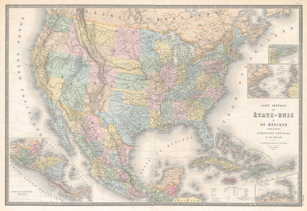 Authentic Antique Map of the United States:  Carte Generale des Etats-Unis et du Mexique comprenant L'Amerique Centrale et Les Antilles  Map Maker: E. Andriveau-Coujon  Date: 1875 (dated) Paris