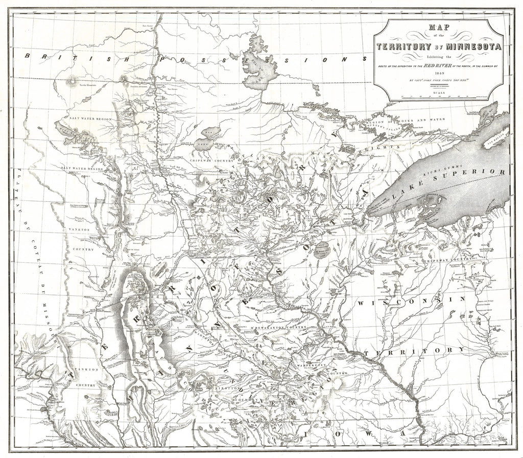 1849 Map of the Territory of Minnesota Exhibiting the Route of the Expedition to the Red River of the North, in the Summer of 1849