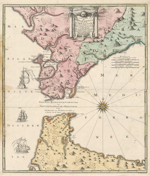 Authentic Antique Map of the Strait of Gibraltar:  Carte Nouvelle de l'Isle de Cadix & du Detroit de Gibraltar  Map Maker: Homann Heirs  Date: 1730 (dated) Nuremberg  Dimensions: 22.5 x 19 inches (57.2 x 48.25 cm)