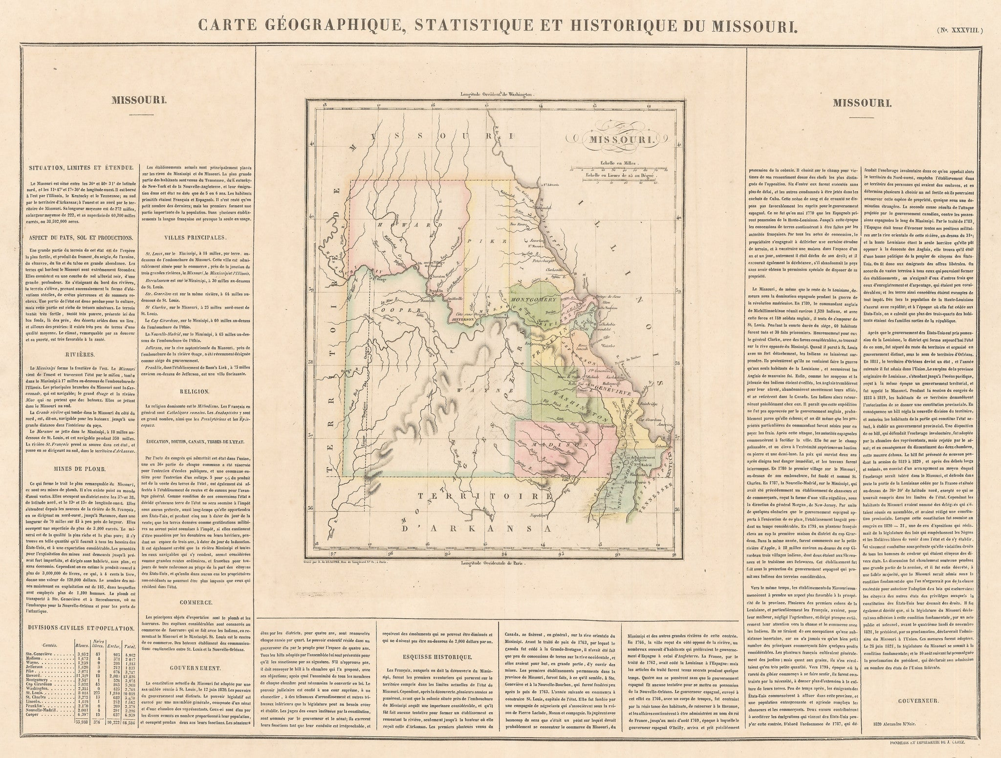 Authentic Antique Map of Missouri: Carte Geographique, Statistique et Historique de Missouri  By: Jean Alexandre Buchon  Date: 1825 (Published) Paris  Dimensions: 17 x 24 inches (43.18 cm x 60.96 cm)