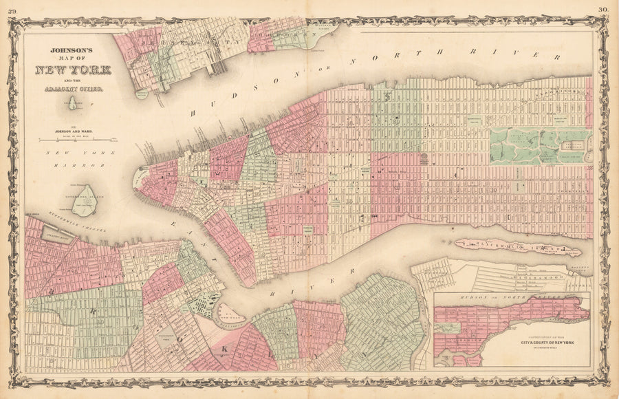 1862 Johnson's Map of New York and the Adjacent Cities