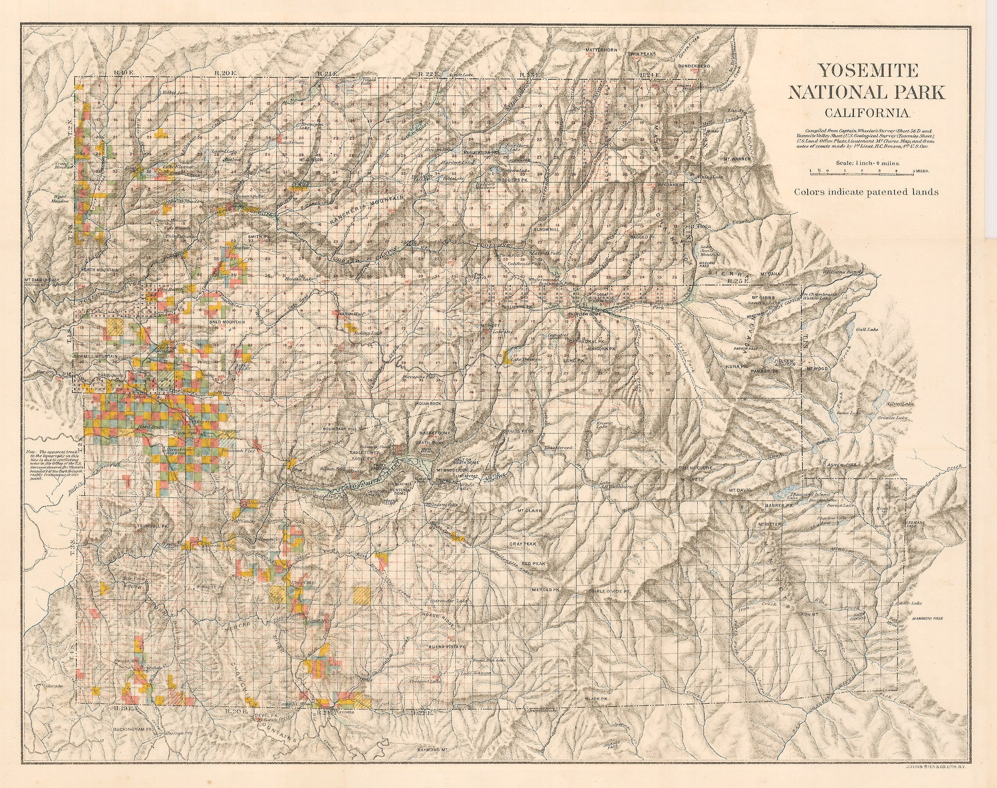HJBMaps : Authentic Antique Map of Yosemite National Park, California 1898