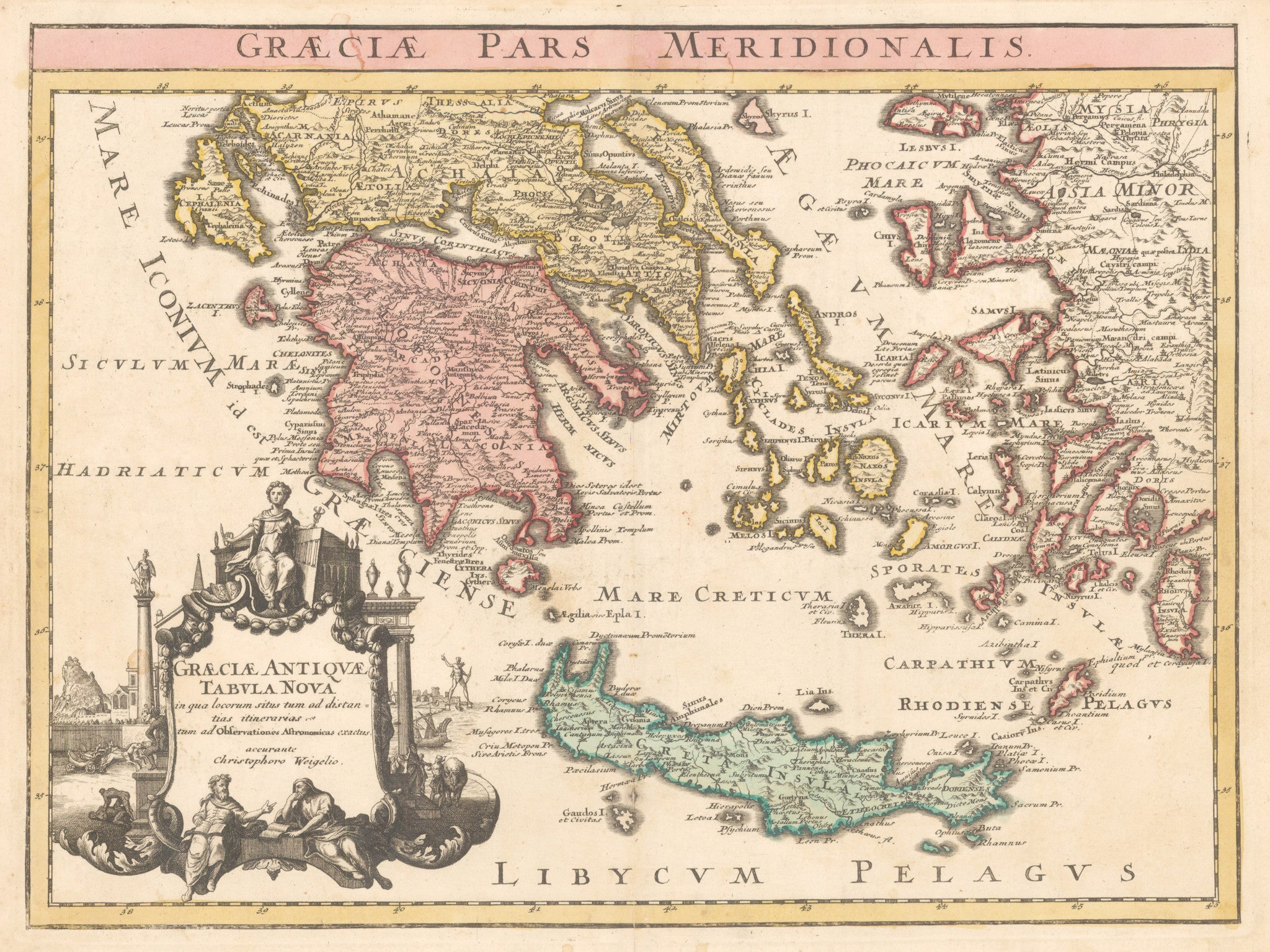 Graecie Pars Meridionalis By: Weigel Date: 1720 (published) Nuremberg Size: 12 x 16.25 inches - Antique, Vintage, Greece, Crete, Turkey, Weigel, 1720
