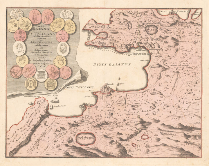 Ora Baiana et Puteolana... By: Weigel Date: 1720 (published) Nuremberg Size: 11.25 x 15 inches (28.6 x 38.1 cm) - Antique, Vintage, Rare, Italy, Bay of Naples