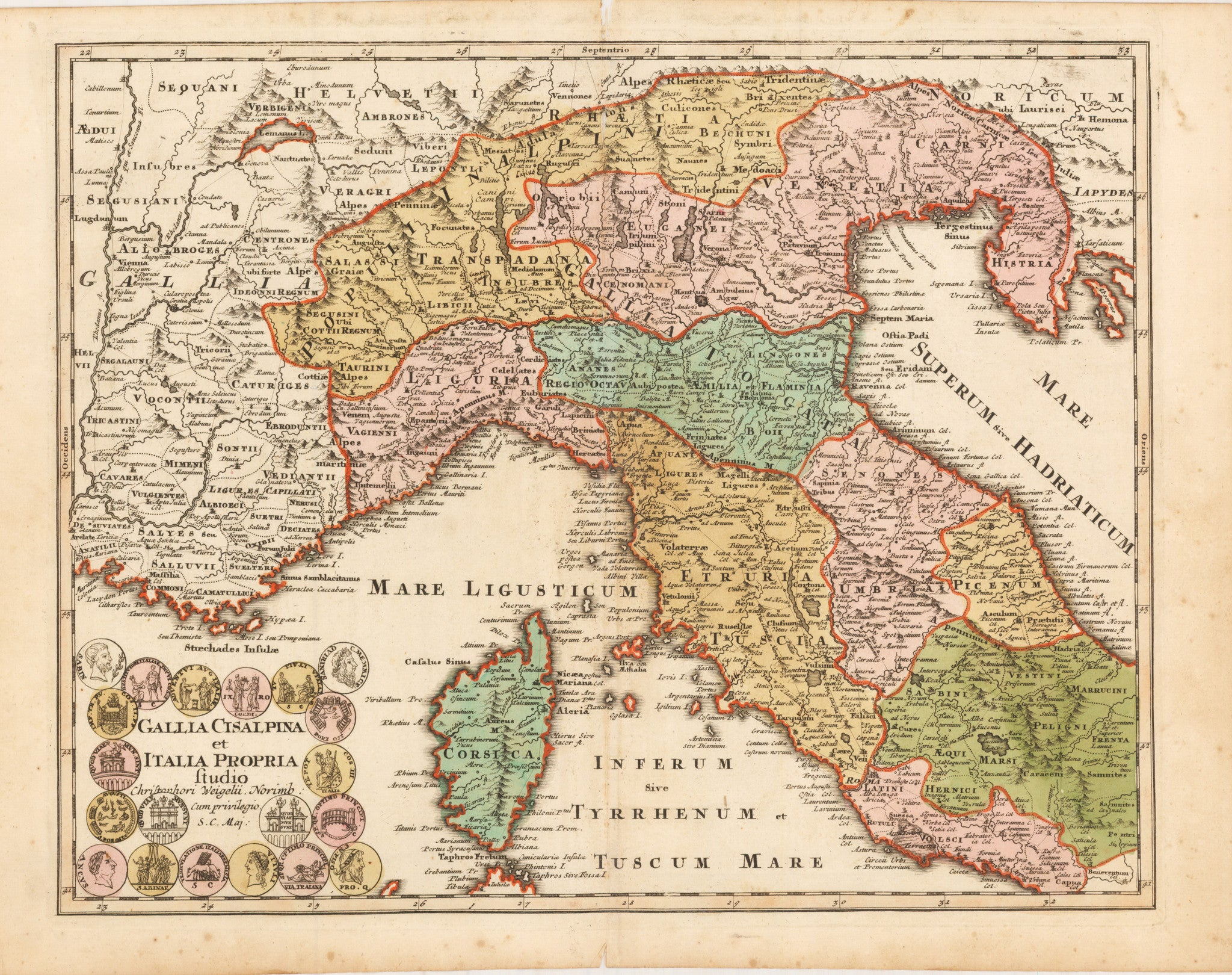 Gallia Cisalpina et Italia Propria By: Weigel Date: 1720 (published) Nuremberg Size: 12.25 x 15.5 inches - Antique, Vintage, Italy, Corsica, Weigel