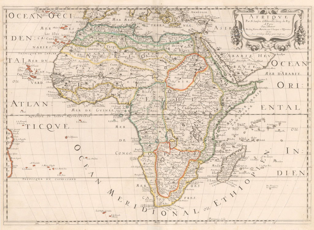 Authentic Antique Map of Africa: Afrique Par N. Sanson d'Abbeville, Geog. du Roy A Paris, Date: 1650 (dated) Paris, Dimensions: 15.5 x 21.75 inches (39.4 x 55.2 cm)