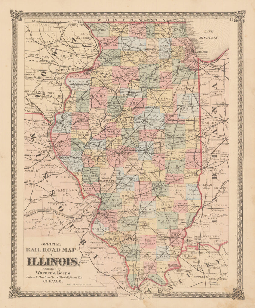 HJBMaps.com: Official Railroad Map of Illinois  By: Warner & Beers  Date: 1875 (Published) Chicago  Dimensions: 16.25 x 13.4 inches (41.3 cm x 34 cm)