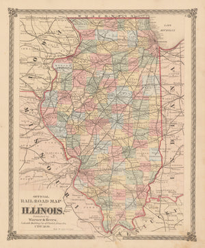 nwcartographic.com: Official Railroad Map of Illinois  By: Warner & Beers  Date: 1875 (Published) Chicago  Dimensions: 16.25 x 13.4 inches (41.3 cm x 34 cm)