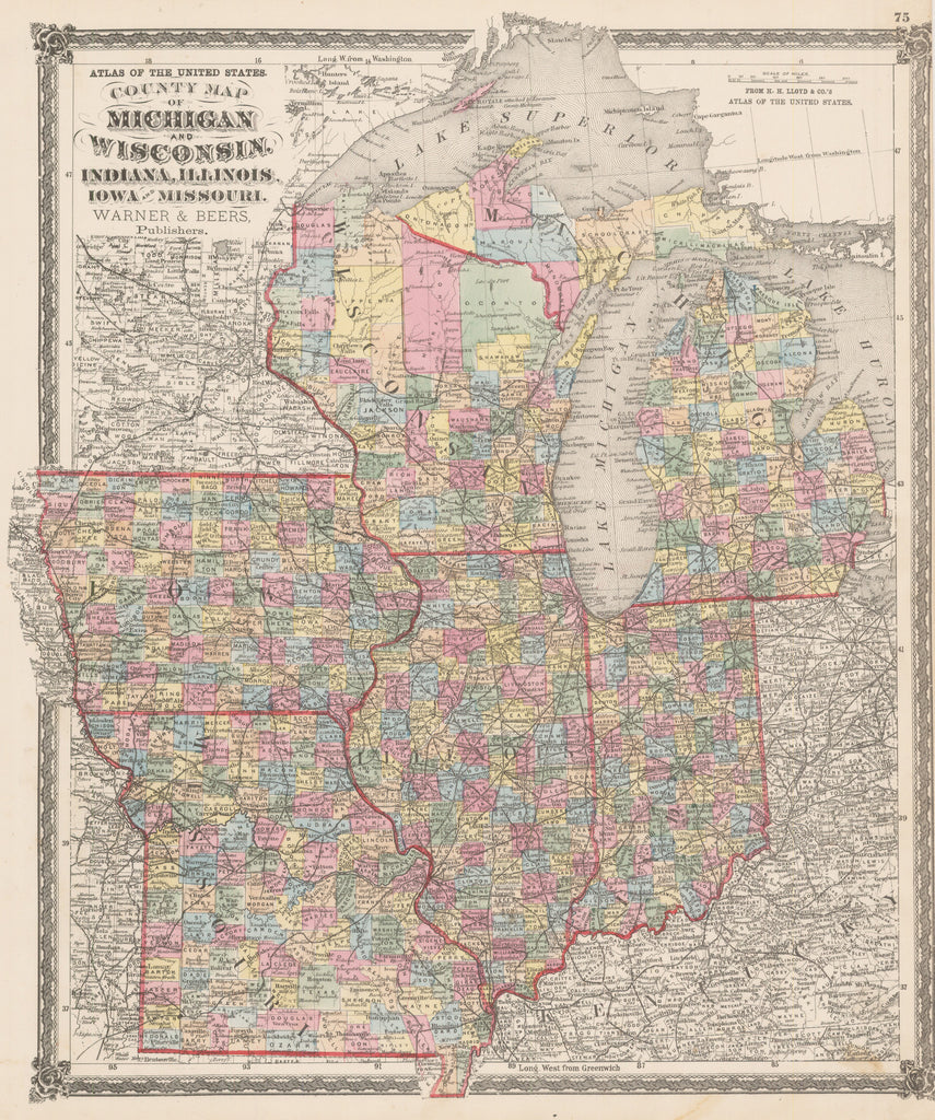 1875 County Map of Michigan and Wisconsin, Indiana, Illinois, Iowa and Missouri.
