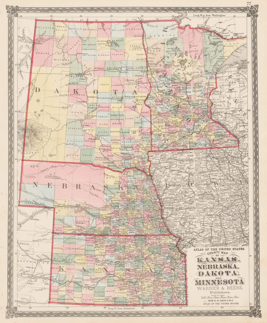 nwcartographic.com : County Map of Kansas, Nebraska, Dakota, and Minnesota.  By: Warner & Beers  Date: 1875 (Published) Chicago  Dimensions: 17.5 x 14.5 inches (44.5 cm x 36.8 cm)